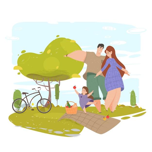 Família feliz, gesticulando com sorriso no parque natureza Vetor Premium