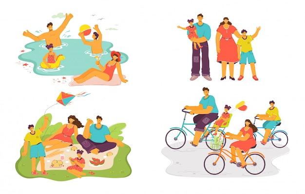 Família feliz juntos conjunto de ilustração, pai dos desenhos animados, mãe e filho se divertem no piquenique, ciclismo ou natação Vetor Premium