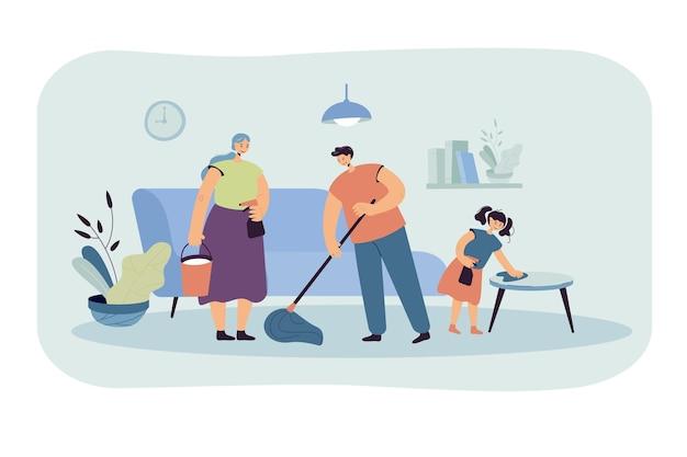 Família feliz limpando a casa juntos ilustração plana. ilustração de desenho animado Vetor grátis