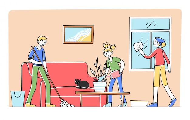 Família feliz limpando apartamento juntos Vetor Premium