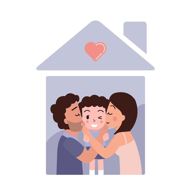 Família feliz, mostrando o amor. mãe e pai beijam o filho. campanha de ficar em casa. auto quarentena em casa Vetor Premium