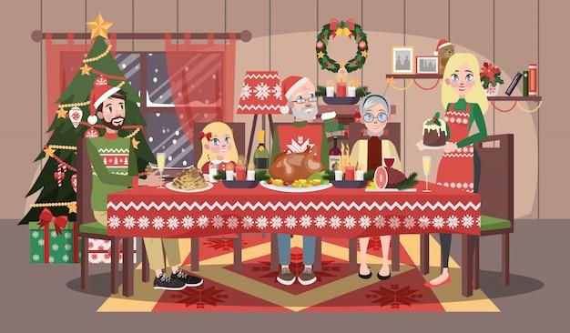 Família feliz na camisola aconchegante, sentado à mesa de natal. mãe e pai, filho e avós jantam no natal. ilustração Vetor Premium