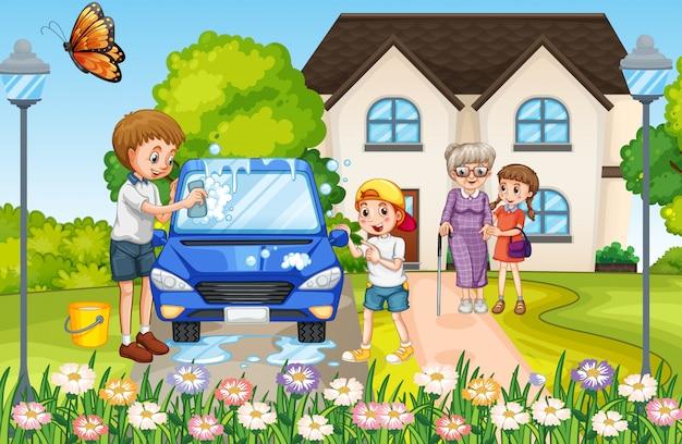 Família feliz na frente da casa Vetor Premium