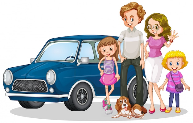 Família feliz na frente do carro Vetor grátis