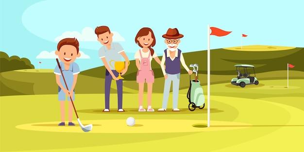 Família feliz no campo de golfe jogando golfe Vetor Premium
