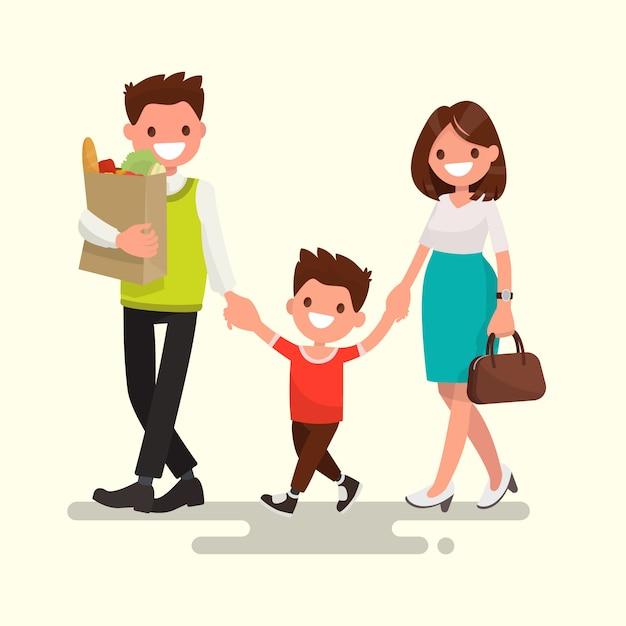 Família feliz. pai mãe e filho estão indo para casa ilustração Vetor Premium