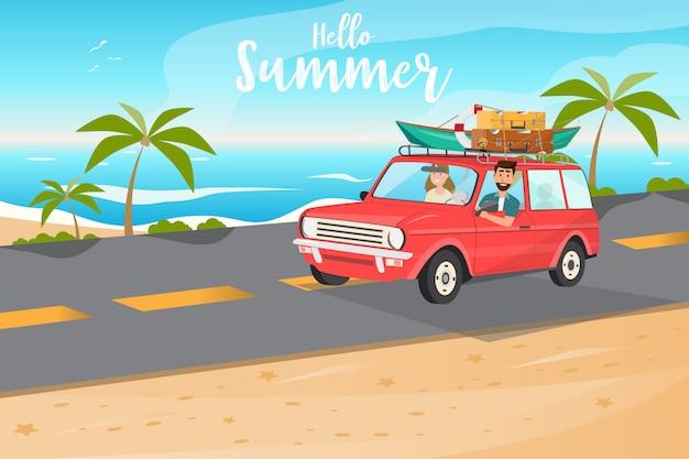 Família feliz. pai, mãe e filhos vão viajar de carro no horário de verão Vetor Premium