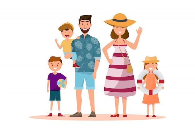 Família feliz. pai, mãe, filho e filha, juntamente com a viagem de verão Vetor Premium
