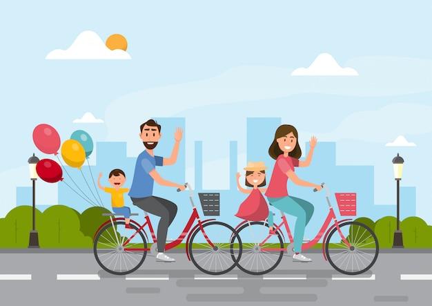 Família feliz. pai, mãe, menino e menina andando de bicicleta juntos Vetor Premium