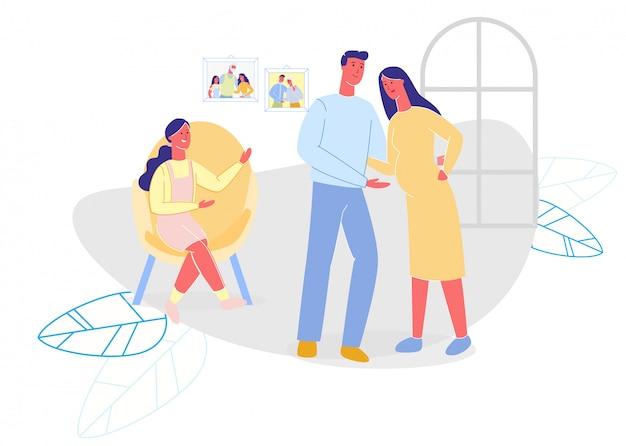 Família feliz, passar tempo em casa cartoon plana Vetor Premium