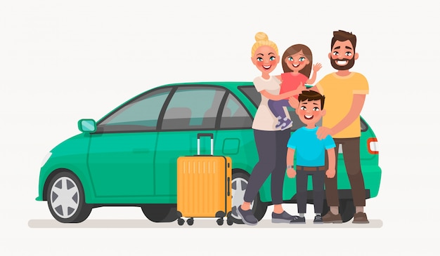 Família feliz perto do carro com bagagem. viagem em família em um veículo Vetor Premium