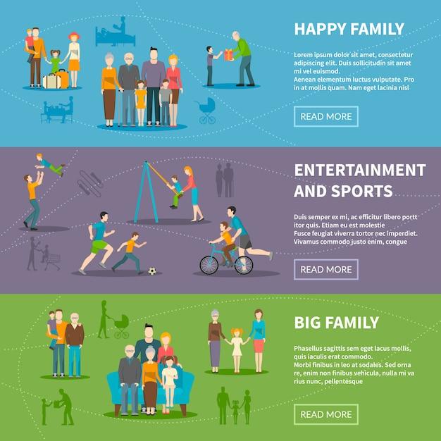 Família feliz plana banners Vetor grátis