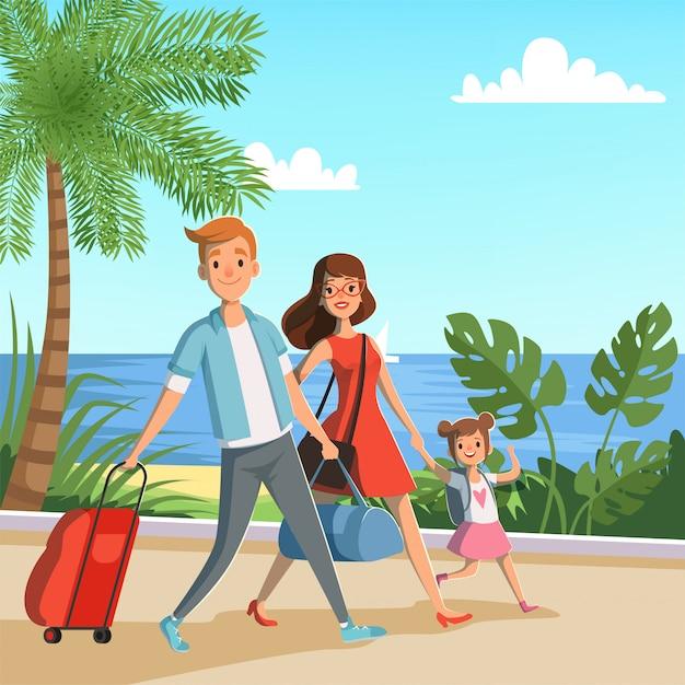 Família feliz que anda na praia. Vetor Premium