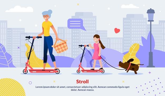 Família feliz scooting juntos motivar cartaz Vetor Premium