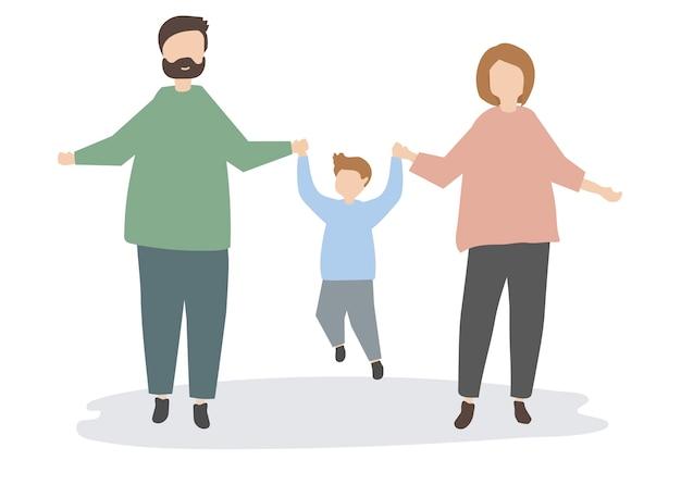 Família feliz, segurando a ilustração de mãos Vetor grátis