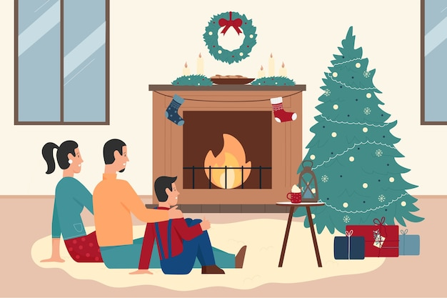 Família feliz sentada perto da lareira de natal em casa Vetor Premium