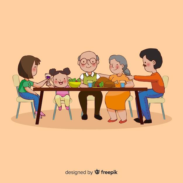 Família feliz sentado à mesa, design de personagens Vetor grátis