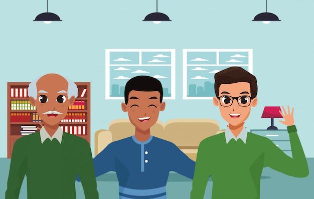 Família feliz sorrindo dentro de casa desenhos animados Vetor Premium