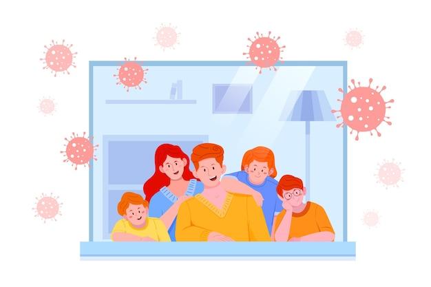 Família ficar dentro de casa e bactérias coronavius ao ar livre Vetor grátis