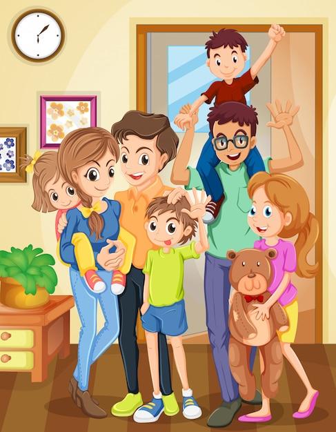 Família, ficar, em, a, sala de estar Vetor grátis