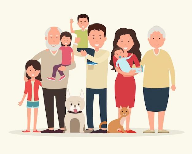 Família grande juntos. pais e filhos. Vetor Premium
