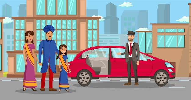 Família indiana rica esperando por ilustração de carro Vetor Premium