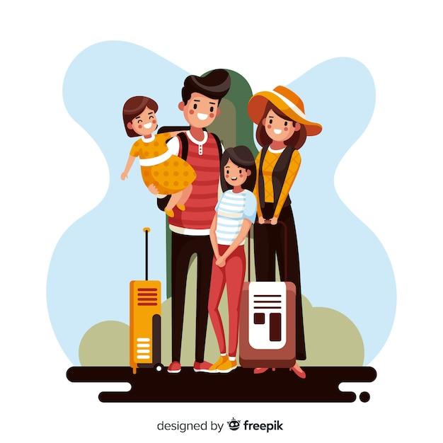Família indo em um fundo de viagem Vetor grátis