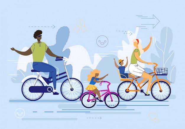 Família internacional, casal com filhos andar de bicicleta. Vetor Premium