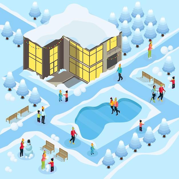 Família isométrica no modelo de férias de inverno com snowboard, patinação, esqui, boneco de neve, edifício nevado e árvores Vetor grátis