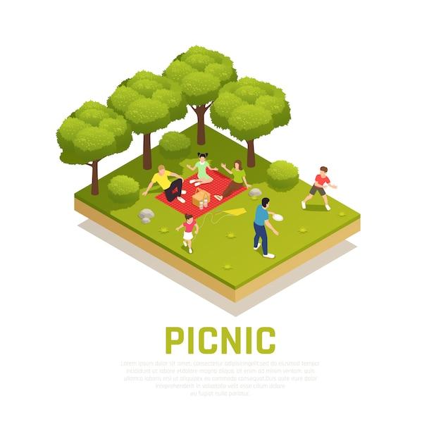 Família jogando conceito com piquenique em família em símbolos de parque isométricos Vetor grátis