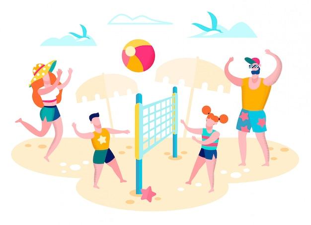 Família jogando vôlei na praia conceito vector Vetor Premium