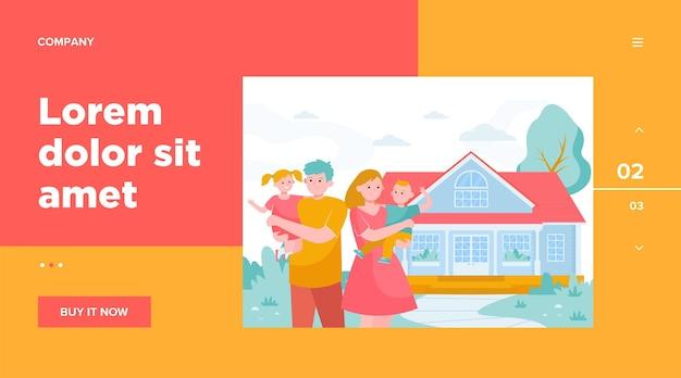 Família jovem feliz em frente ao modelo da web de casa. desenho animado com mãe, pai e filhos saindo juntos Vetor grátis