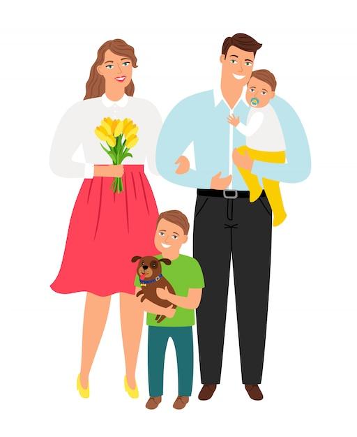 Família jovem feliz Vetor Premium