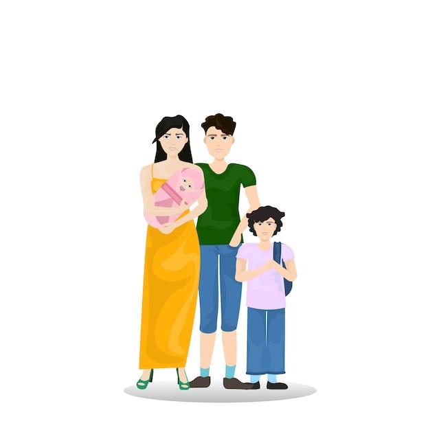 Família jovem, pais, com, filho, segurando criança infantil recém-nascida, isolado Vetor Premium