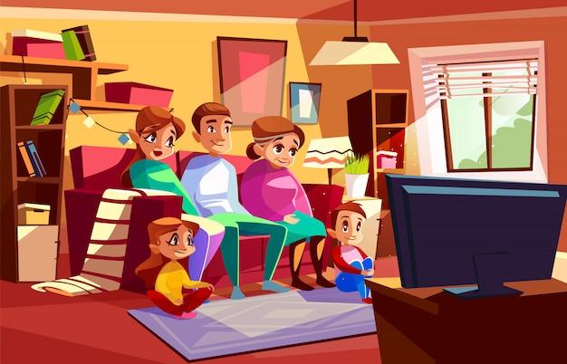 Família, junto, olhando televisão, ilustração, de, pais, e, crianças, sentar sofá Vetor grátis