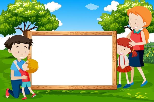 Família, ligado, frame madeira Vetor Premium