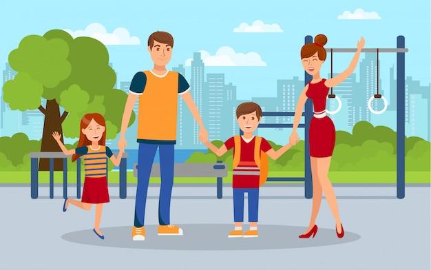 Família moderna, crianças com pais ilustração plana Vetor Premium