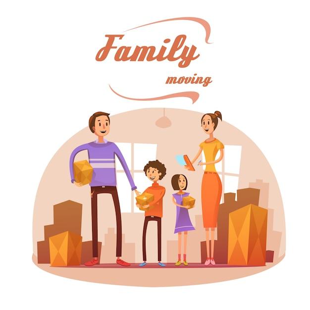 Família, movendo-se no conceito dos desenhos animados com lista de sala e caixas de ilustração vetorial Vetor grátis