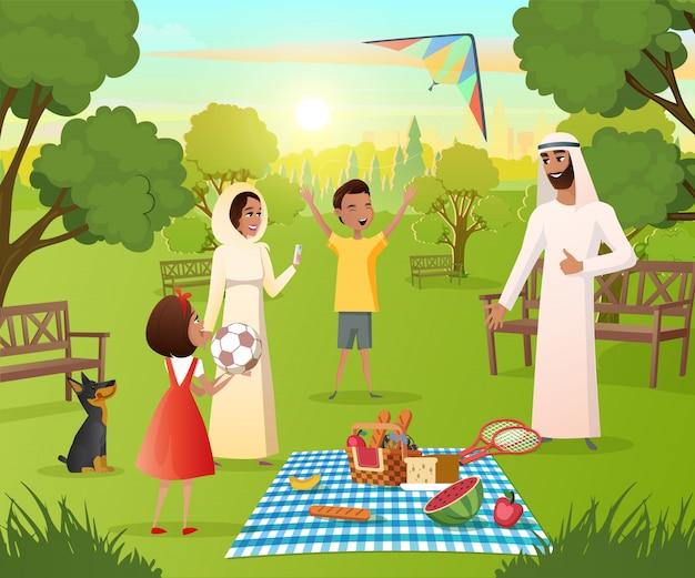 Família muçulmana feliz no piquenique no vetor de parque da cidade Vetor Premium