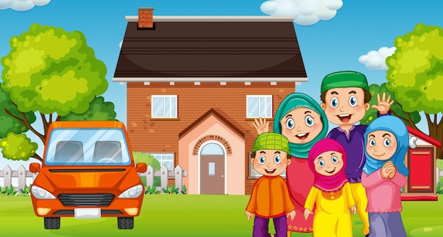 Família muçulmana na frente da casa Vetor grátis