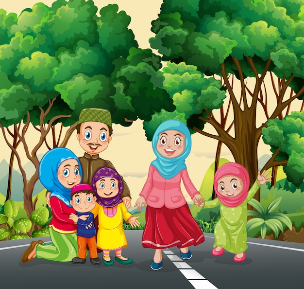 Família muçulmana no parque Vetor grátis