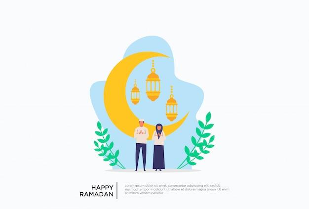 Família muçulmana ramadan plana ilustração Vetor Premium