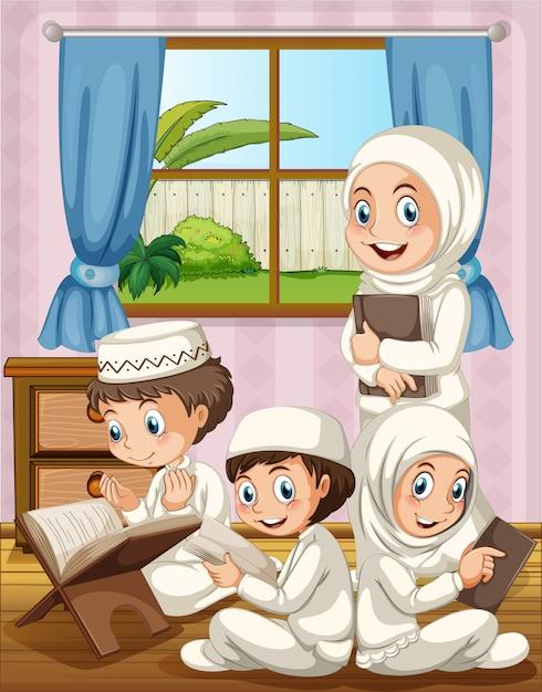 Família muçulmana rezando na casa Vetor grátis