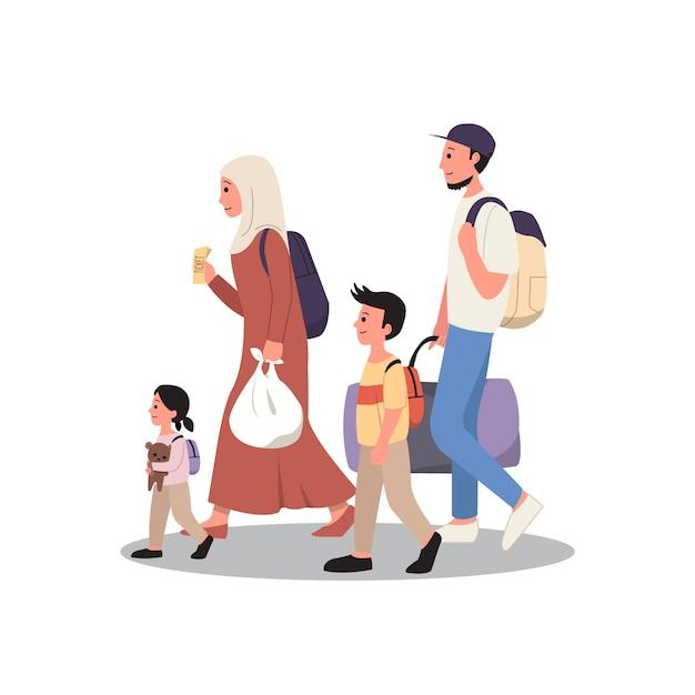 Família muçulmana viajando de férias. tradição de regresso a casa para eid al fitr. estilo simples, isolado no fundo branco Vetor Premium