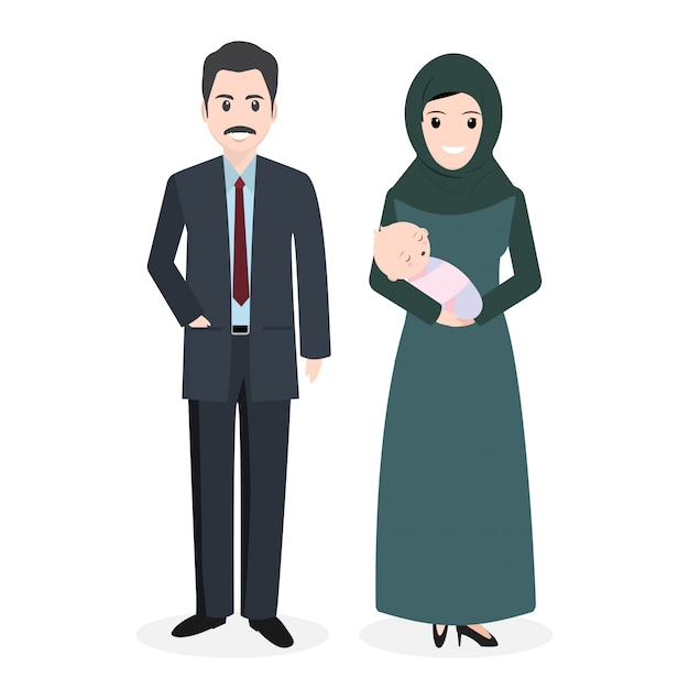 Família muçulmana Vetor Premium