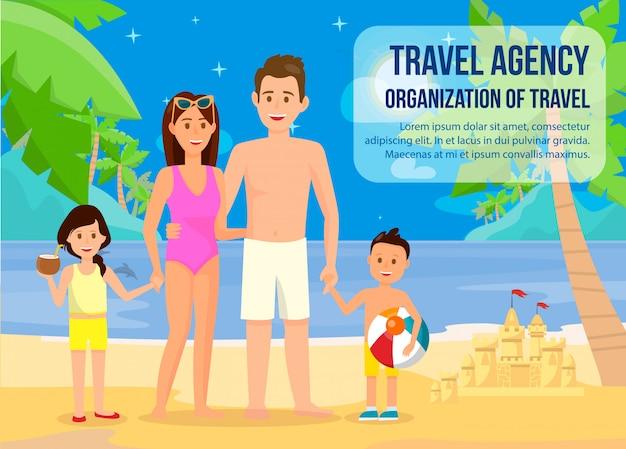 Família na faixa de férias de verão com letras. Vetor Premium