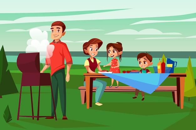 Família na ilustração piquenique churrasco. projeto dos desenhos animados do pai homem fritar na churrasqueira Vetor grátis
