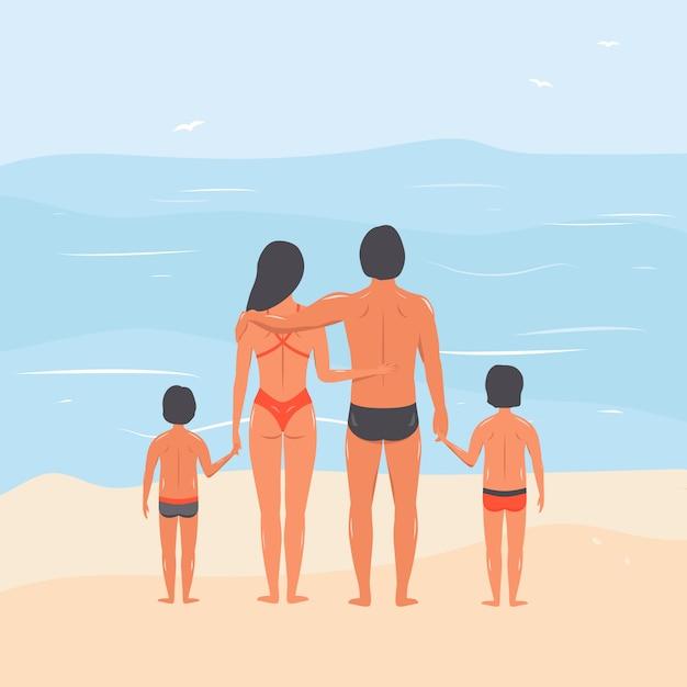 Família na praia. cônjuges com filhos no mar. ilustração vetorial desenhados à mão. Vetor Premium