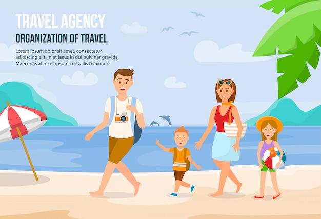 Família na praia Vetor Premium