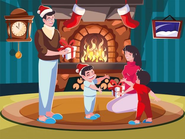 Família na sala de estar com decoração de natal, cena da noite de natal Vetor Premium